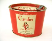 Vintage Cavalier King Size Cigarettes tin, red cream black, advertising tins work for storage & organization, gift container idea for sweets