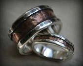 rustic wedding ring set - fine silver and 14K rose gold - handcrafted and oxidized fine silver and gold wedding bands - customized