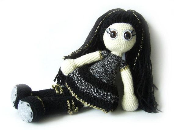 Crocheted doll - unique doll - art doll - soft toy - amigurumi black white gray grey steampunk