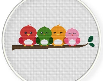 Instant download,free shipping,Cross stitch pattern, PDF ,friendship ,colorful birds,ZXXC0522