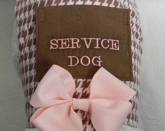 Custom SERVICE Pet with Pocket Harness Vest in a Classic Pink Brown Houndstooth with Lace & Bow. Perfect Item for your Cat, Dog or Ferret.