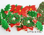 Christmas Cookies, Holiday Cookies, Christmas Trees, Wreaths, Holly, Poinsettia - 1 Dozen