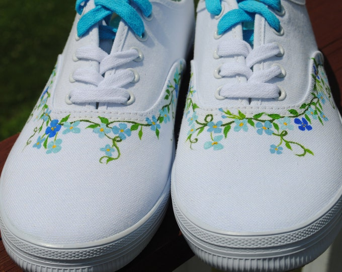 New Hand Painted Design With Small Shades of Blue flowers and Vines size 10W  -  SOLD