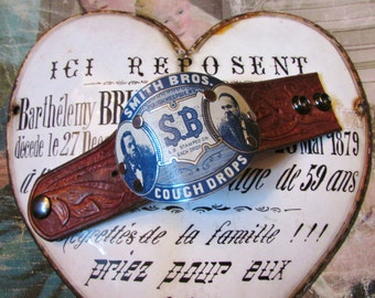 Madonna Enchanted cuff bracelet leather man or womans vintage portrait tin one of a kind unisex jewelry assemblage Smith Bros