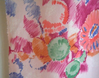 Pink Floral Vintage Polyester Fabric Remnant- Floral Bouquet Sketches