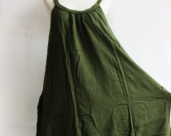 D22, Green Swan Double Layers Cotton Dress