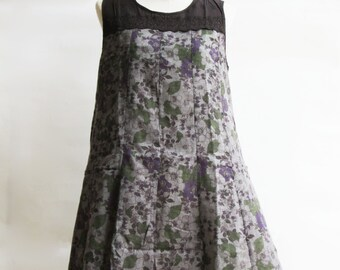 D25, Queen Elizabeth Garden Cute Floral Brown Cotton Dress
