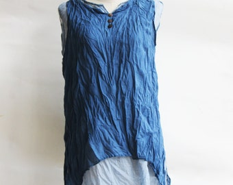B5, Sky Two Tone Two Layers Sleeveless Blue Cotton Blouse