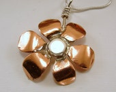 Copper and Sterling Silver Flower Pendant Necklace