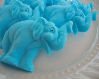 Animal Baby Shower - 40 ELEPHANT SOAP - blue jungle baby shower, animal wedding favor