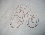 Antique Square of French Linen with Printed Monogram Initial  R letter stamp