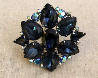 Blue and Aurora Borealis Rhinestone Pin / Brooch
