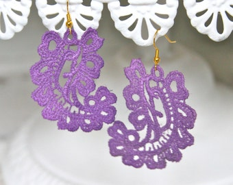 Purple Lace Paisley Vintage Drop Dangle Lace Earrings - Wedding, Fall Jewelry, Bridesmaid, Bridal, One of a kind, Statement Earrings