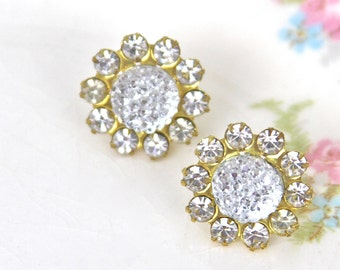 Vintage Rhinestone Clear Bumpy Iridescent Brass Rhinestone Post Earrings -Wedding, Bridal , Bridesmaid