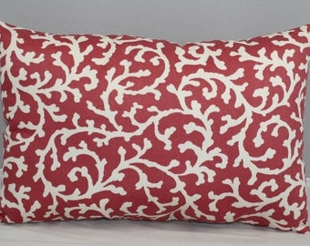 Lumbar Pillow  Waverly Coral Pink and Off White Nautical Design  14 x 9 inches