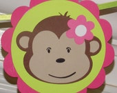 CLEARANCE Pink & Lime Green Monkey Birthday Banner READY To SHip Happy Birthday Mod Monkey SAVE 50% Girl 1st Birthday Decoration Jungle