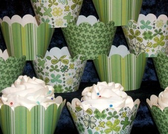 READY To SHiP St. Patricks Day Cupcake Wrappers Stripes & Shamrocks Saint Pats 3 Patterns per Set Up to 48 wrappers  with SaME SHiPPING