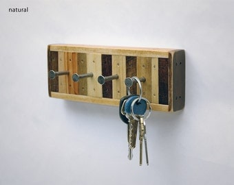 Key Rack, Jewelry Rack 4 Hook Recycled Wood (Chonko Style)
