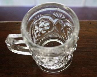 EAPG Multiple Scroll childs' antique glass mug 1893 - 1903