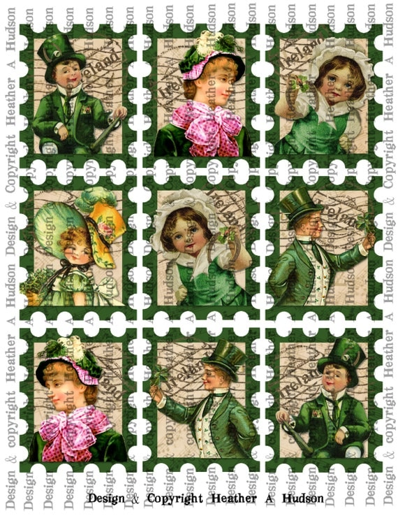 Victorian Vintage Green St. Patrick's Day Stamps Tags  Digital Collage sheet Printable