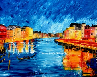 "Venice cityscape painting original large oil wall art Italy Europe 24 x 36 x 1.25"" Artist Mariana Stauffer - Malorcka"