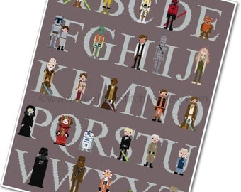 Star Wars Alphabet Sampler - The *Original* Pixel People - PDF Cross-stitch Pattern - INSTANT DOWNLOAD