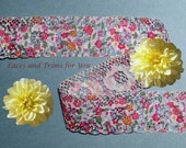 Pink Lace Trim 10 Yards Floral Print Scalloped 1-1/8 inch wide Lot R107D Added Items Ship No Charge