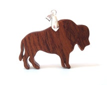 Buffalo Bison Wood Pendant Necklace Southwestern Animal Jewelry Buffalo Totem Sapele Scroll Saw  Hand Cut