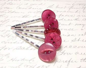 Vintage Ruby Red Button Bobby Pins. Rustic Wedding Hair Accessories. Red Hair Pins. Set of 5.