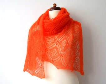 large orange scarf, Estonian lace shawl, handknit lace wrap, bridal cover up, mohair shawl