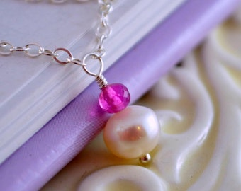 Pink Tourmaline Necklace, Genuine Gemstone, October Birthstone, Child Children Girl Women, Sterling Silver, Freshwater Pearl Jewelry
