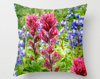 Pillow Cover, Scratched Lupine and Paintbrush, Decorative Throw Pillow Cover, fPOE, Fine Art Photography, Wildflowers, 16x16, 18x18, 20x20