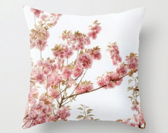 Pillow Cover, Cherry Blossoms, Botanical, White, Pink, Macro, Decorative Throw Pillow Cover, fPOE, 16x116, 18x18, 20x20