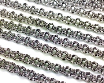 Double Link Stainless Steel Chain, 4mm Round Open, 0.7mm thick, 304 Stainless, Hypoallergenic, Non Tarnish, Lot Size 2 to 20 Feet, #1911