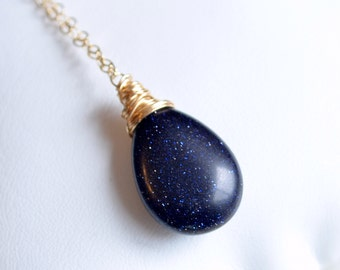 Blue Goldstone Necklace, Navy, Gold Filled or Sterling Silver, Midnight, Wire Wrapped, Simple Glass Jewelry, Free Shipping