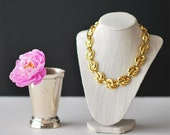 Vintage Anne Klein Gold Tone Chain Link Bold Necklace