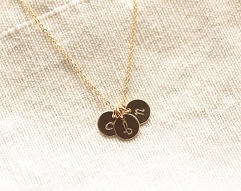Gold Initial Necklace, Mothers Necklace - Three Tiny Personalized Initial Charm - Hand Stamped - 14k Gold Filled - Bridesmaid Flower Girl