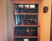 "36 pipe rack display cabinet solid oak  8"" between bowl shelf's"