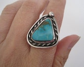 RESERVED FOR KRISTINA:  Vintage Sterling Turquoise Triangle Navajo Ring