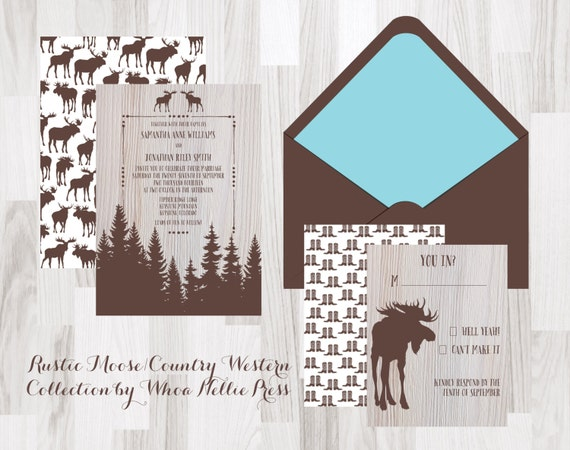 Rustic Western Wedding Invitations: Items Similar To Rustic Moose/Country Western Wedding