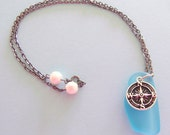 Private Listing for Melissa - Nautical Compass & Anchor Sea Glass Pendant Necklace