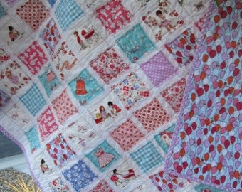 Just Stay Little..A Girly-Girl Fray Edge Quiltl..Shower/Birthday Gift...Ready to Ship
