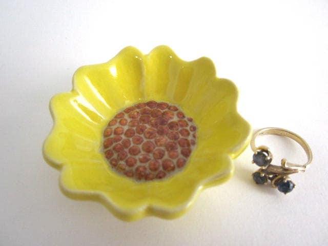 Sunflower ring dish Bathroom decor Ring holder
