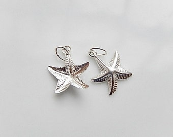 2 pcs Sterling silver Starfish charms (11x13mm)
