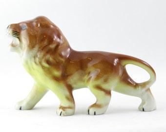 SALE Vintage Lion  figurine -  Brown Animal  natural decor display