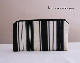 Pouch with Black and White Stripes