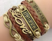 SALE Dream Believe and Love Infinity Layered Bracelet FREE SHIPPING