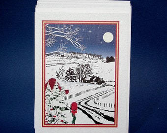 TEN Christmas cards, winter farm scene, Americana, original design, country snow scene, country Christmas, blank inside, recycled paper