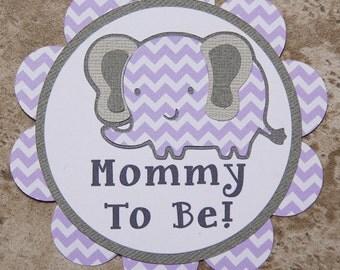 Elephant themed button pin mother grandma aunt- Lavender chevron (Quantity 4) Customizable