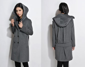 Double-breasted Winter Coat / Low Waist  Wool Hoodie Coat with pleats/ 21 Colors/ RAMIES